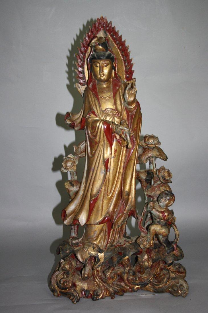 5: Nice Wood Carved Figure of Guan-Yin