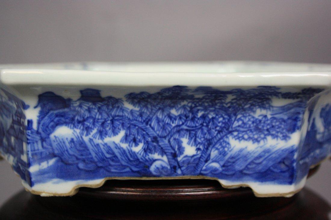 8: 18th Century Blue and White Hexagon Brushwasher The - 5