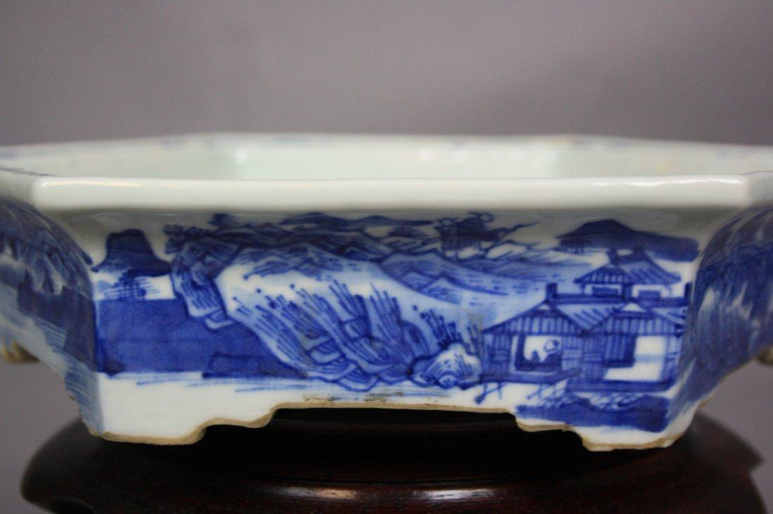 8: 18th Century Blue and White Hexagon Brushwasher The - 6
