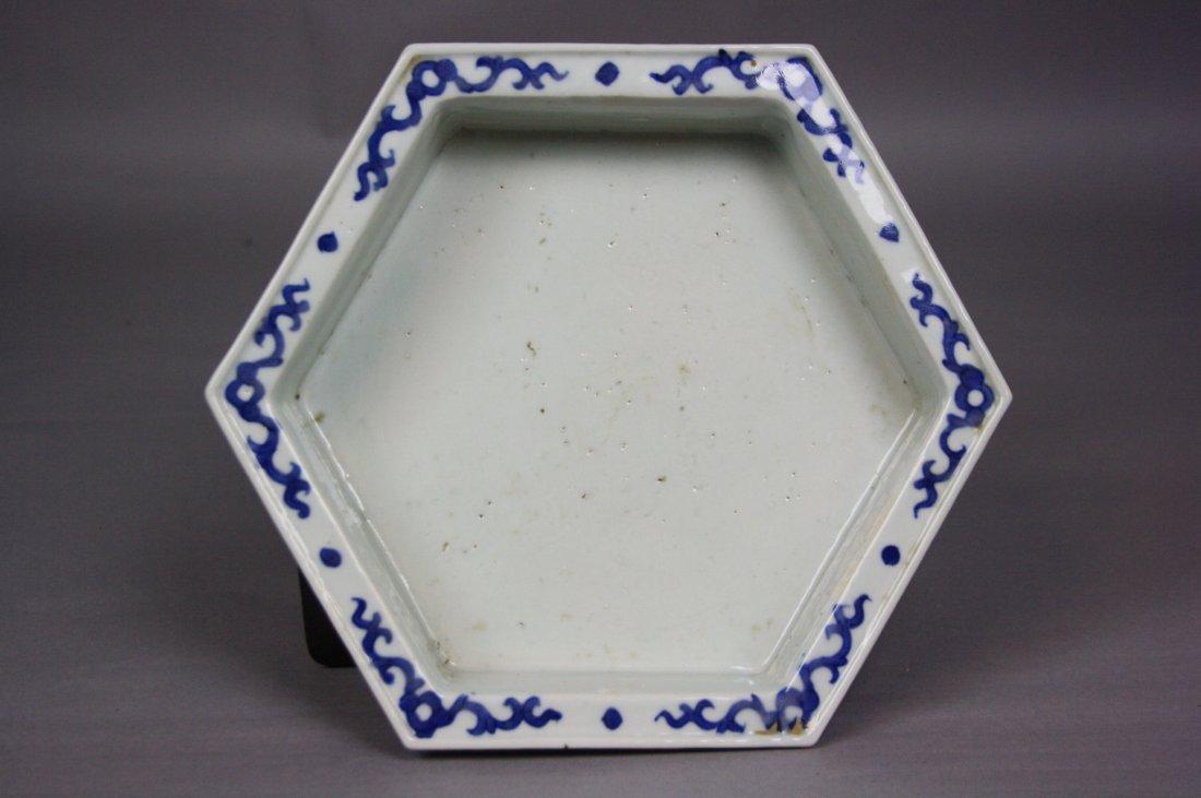 8: 18th Century Blue and White Hexagon Brushwasher The - 8