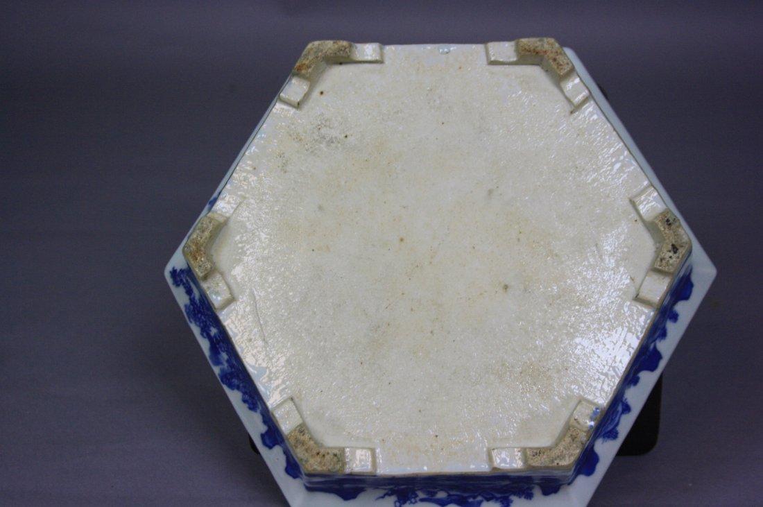 8: 18th Century Blue and White Hexagon Brushwasher The - 9