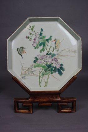 12: Chinese Famille-Rose Enameled Porcelain Octagon Big