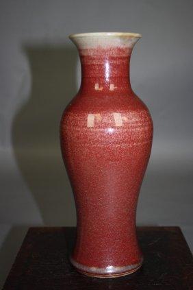 19:    Chinese LangYao-Type Red-Glazed Vase