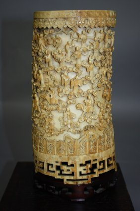 20:    19th-20th  Century Chinese Carved Ivory Brushpot