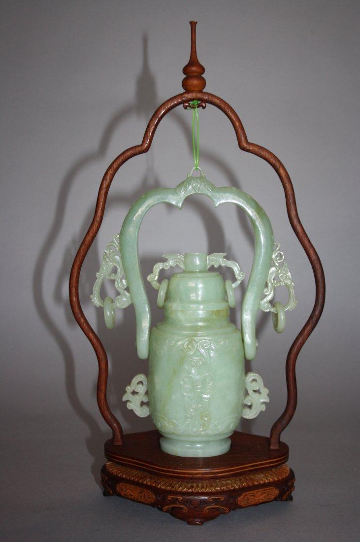 88: 18th - 19th Century Chinese Jade Hanging Urn Vase - 2