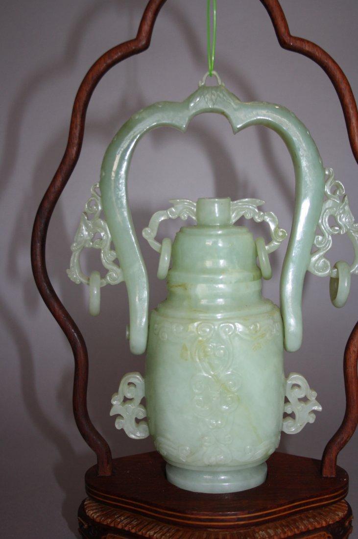 88: 18th - 19th Century Chinese Jade Hanging Urn Vase - 3