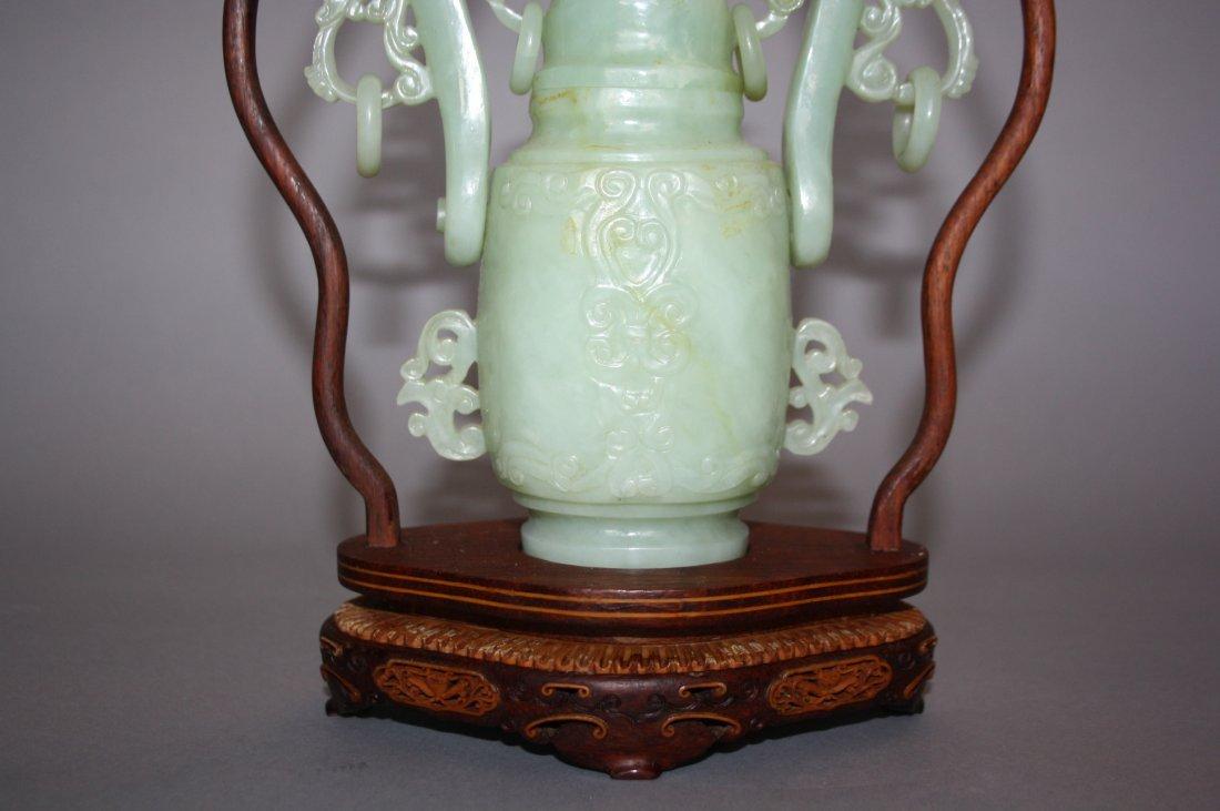 88: 18th - 19th Century Chinese Jade Hanging Urn Vase - 4