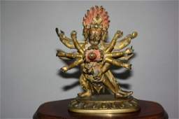 110: Sino-Tibetan Gilt Bronze Yamantaka 17th-18th