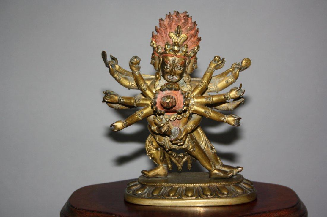 110: Sino-Tibetan Gilt Bronze Yamantaka 17th-18th