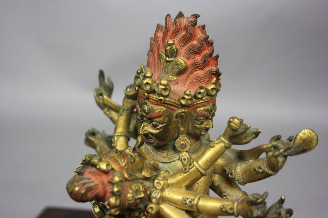 110: Sino-Tibetan Gilt Bronze Yamantaka 17th-18th - 6