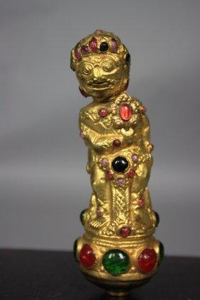 17A: Old Sino Tibetan 18K Gold Gilt Sculpture Jeweled H