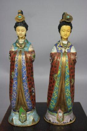 17B: 20th Century Pair of Cloisonné Beauty Statues Ivor