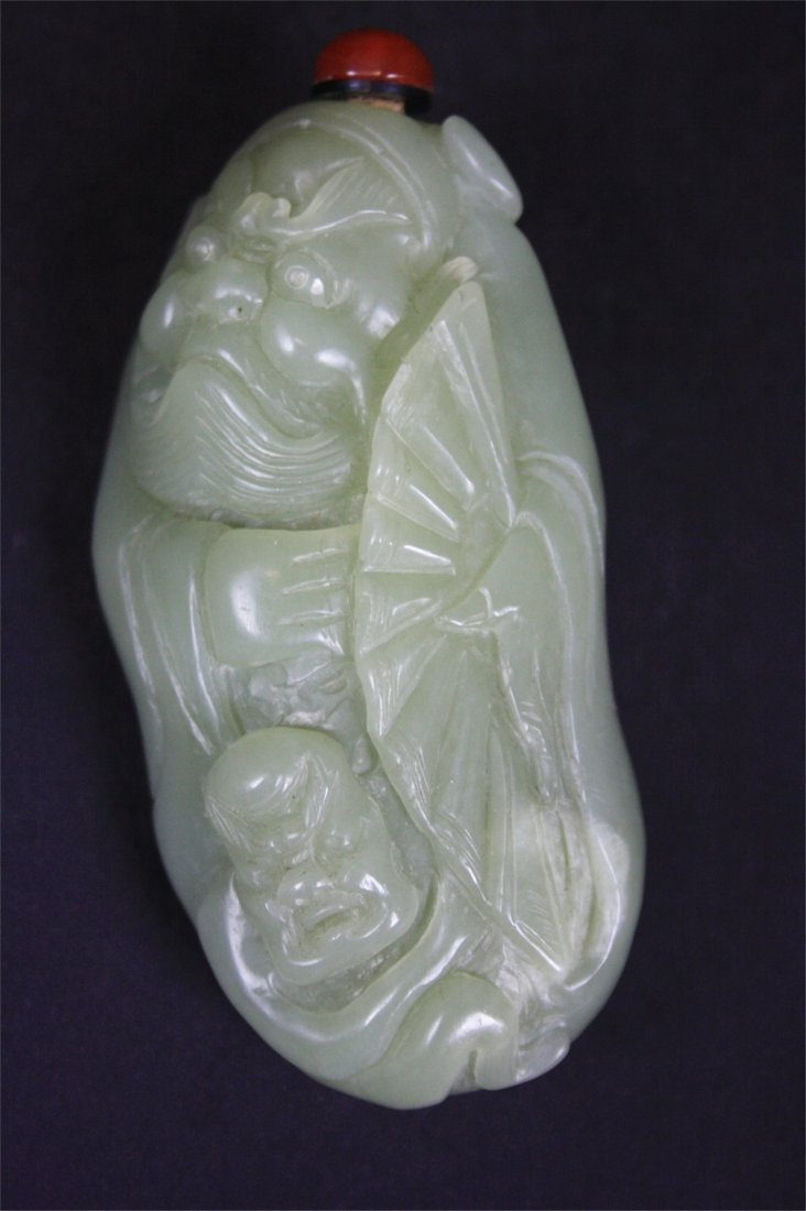 Chinese HETIAN Jade Carved Snuff Bottle    19th Century