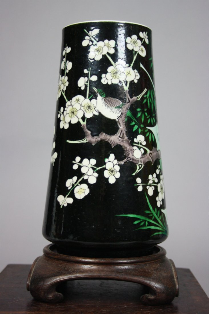 Chinese Famille-Noir Bird Vase   Late Qing Dynasty  H :
