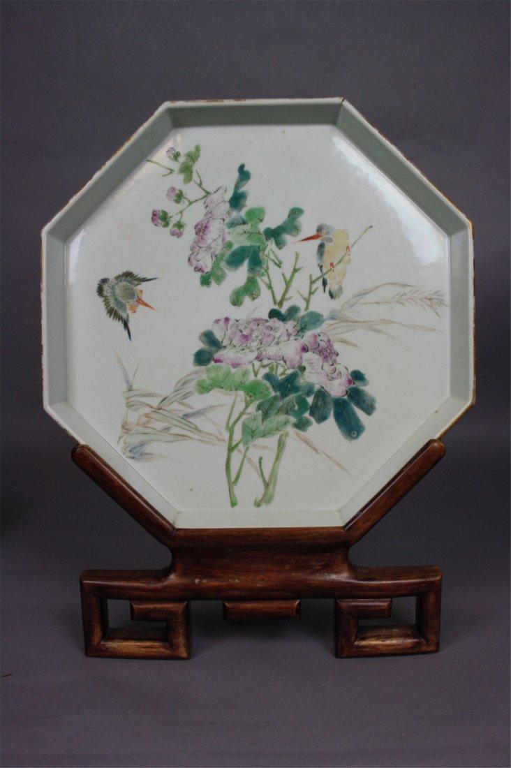 Chinese Famille-Rose Enameled Porcelain Octagonal Big D