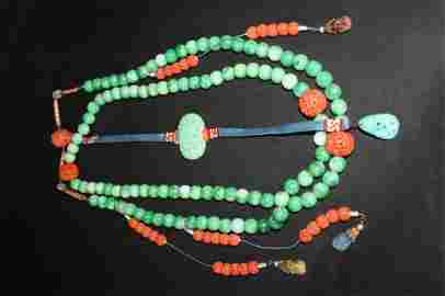 QING DANGZHAOYIPING Court Necklace Jadiete,Coral,Tourma