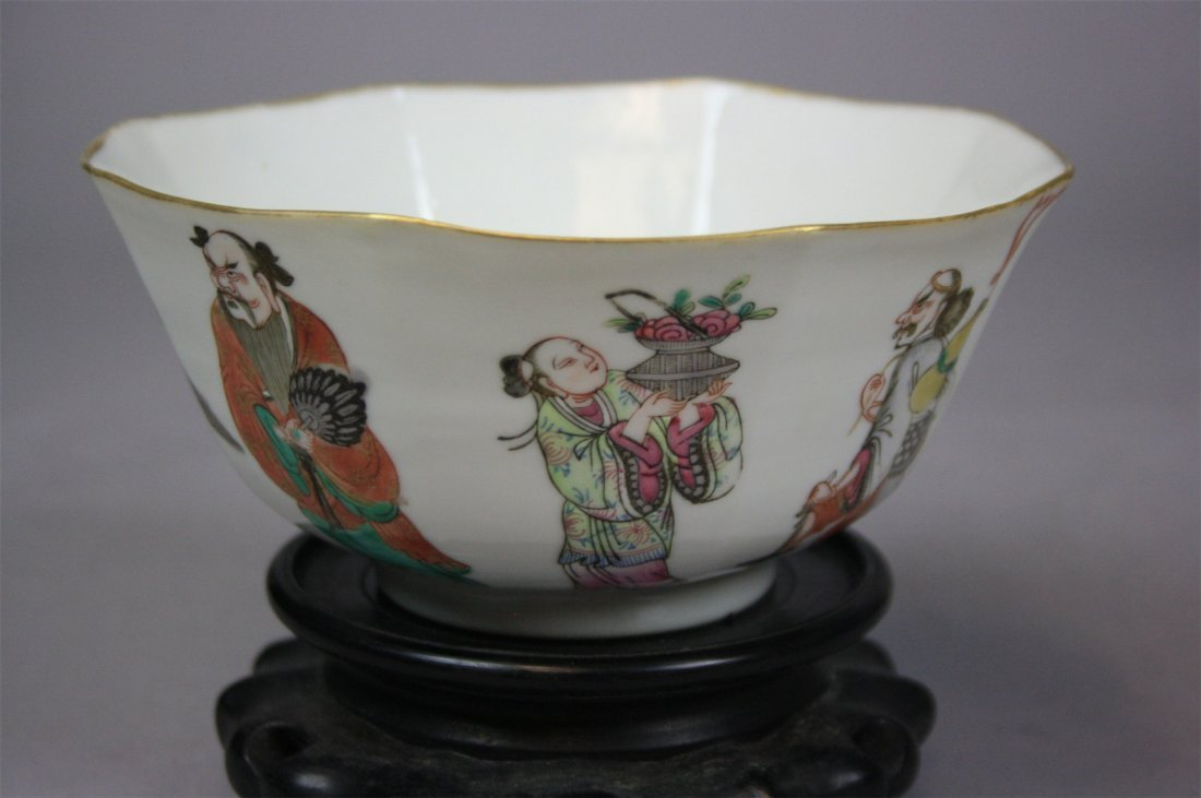Chinese Famille-Rose Eight Immortals Octagon Bowl   19t
