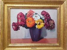 Jane Peterson 1876-1965 Nine Zinnias In Purple Vase