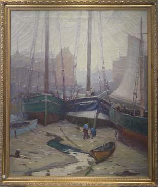 Antonio Cirino 1888-1983 Rockport Harbor in the Mystery