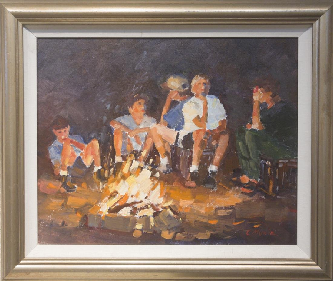 Carleen Muniz 1947-2009 Boys Around Campfire