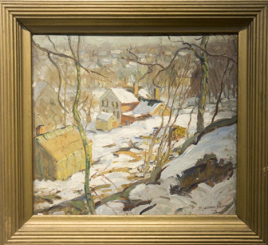 W. Lester Stevens 1888-1969 Winter Snow Scene