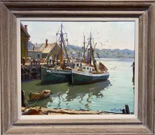 Paul Strisik 1918-1998 Trawlers at Dock
