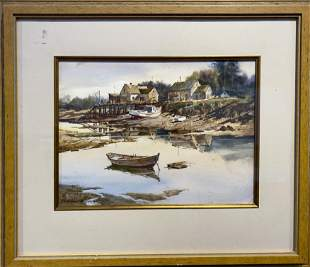 Marshall W. Joyce 1912-1998 Low Tide with Boats &