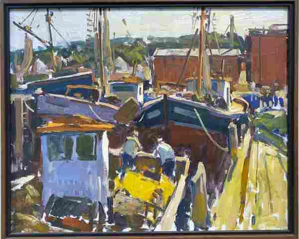 Charles Movalli 1945-2016 Fishing Boats at Dock