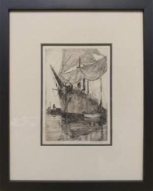 Anthony Thieme (1888-1954) Salt Barque in Harbor