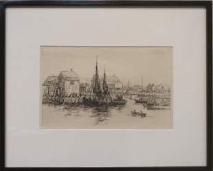 Attrib. to Reynolds Beal (1867-1951) Pulling Into Port