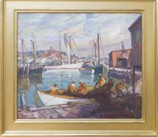 Emile Gruppe (1896-1978) Unloading the Nets