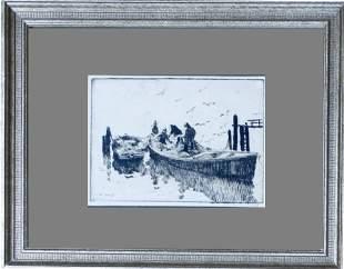 Anthony Thieme (1888-1954) Fishermen in Seine Boat