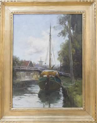 Charles Paul Gruppe (1860-1940) Canal Scene