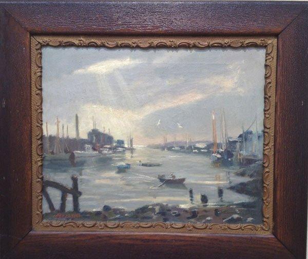 """35: Joseph Rimini ,""""Harbor Scene"""""""