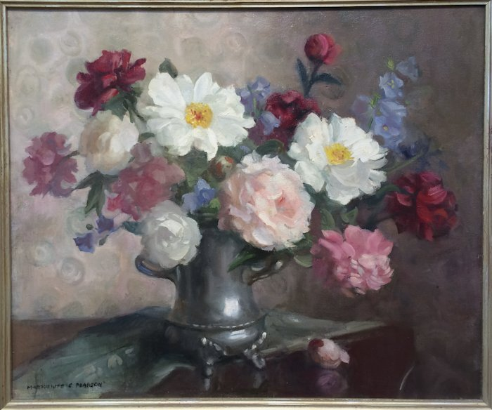 """Marguerite S. Pearson, """"Peonies in Silver"""""""