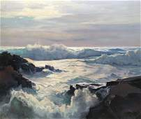 "Frederick Judd Waugh, ""Curling Waves"" (Seascape)"