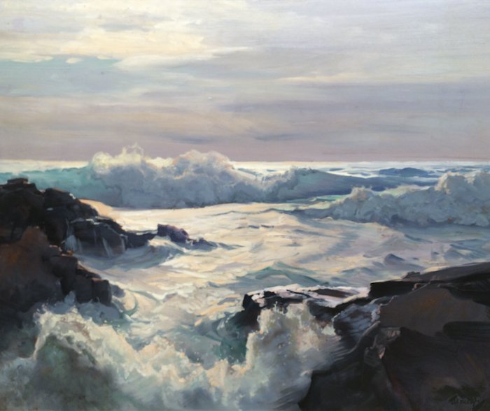 """Frederick Judd Waugh, """"Curling Waves"""" (Seascape)"""