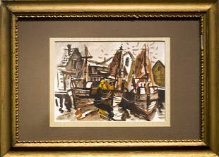 "Al Czerepak , "" Fishermen - Boats at Dock, Cape Ann"