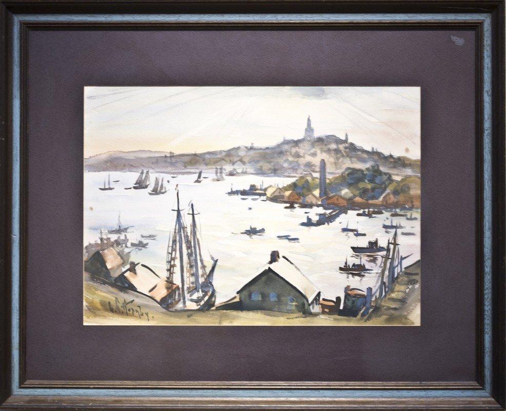 """Lester  Hornby ,  """" Harbor Scene  """""""