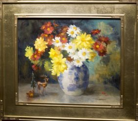 """Marguerite S. Pearson , """" Floral Still Life With Deer"""