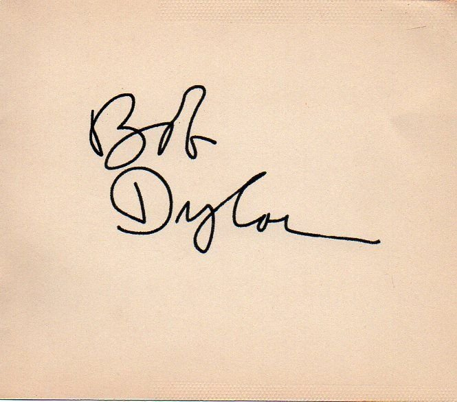 74: Bob Dylan Stunning Signed White Card