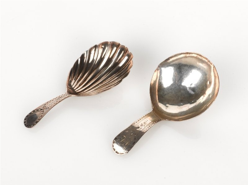 7: Two Silver Bright Cut Handled Caddy Spoons