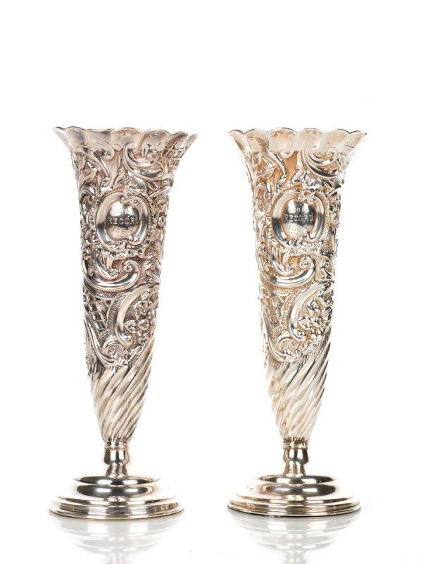 18: Pair of Victorian Silver Specimen Vases