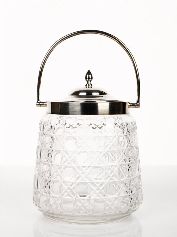21: Silver Mounted Crystal Biscuit Barrel