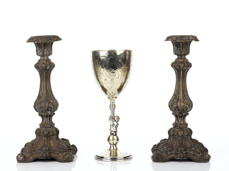 38: Pair of Victorian Continental Silver Candlesticks
