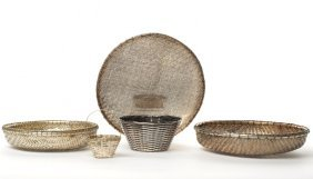 Five Plated Woven Baskets