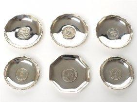 Six Silver Commemorative Ashtrays