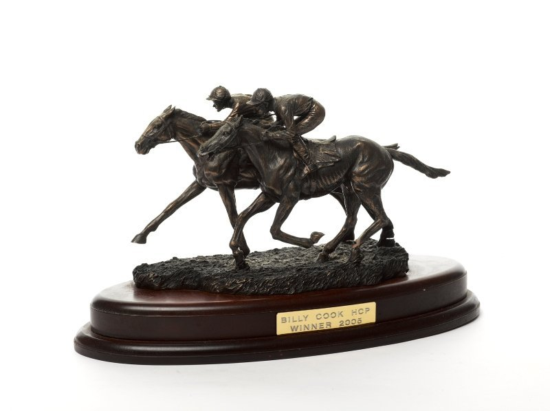 137: Bronze Finish Metal Horse Trophy