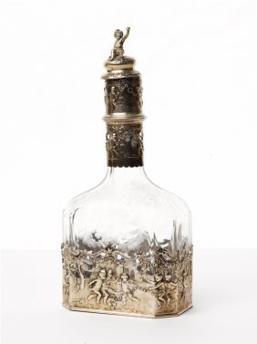 Silver Mounted And Engraved Crystal Decanter