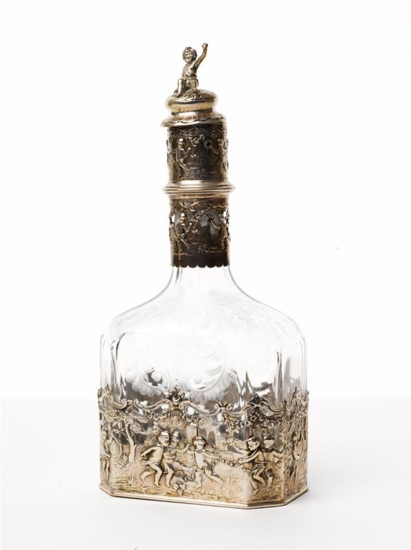 143: Silver Mounted and Engraved Crystal Decanter